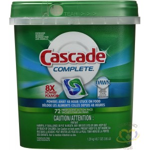 Cascade Complete All-in-1 Actionpacs Dishwasher Detergent, Fresh Scent, 72 Count, Case, 3 x 72CT - 1