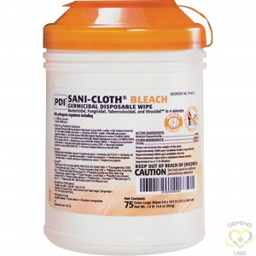 "SANI-CLOTH  PDI® Germicidal Bleach Wipes No. of Wipes: 75 Length: 10-1/2"" Width: 6"" - 1"