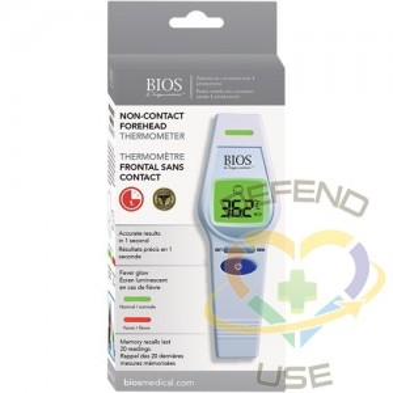 BIOS Non-Contact Forehead Thermometer Temperature Range: 0°C - 100.0°C (32.0°F - 212.0°F) Emissivity: Fixed - 1