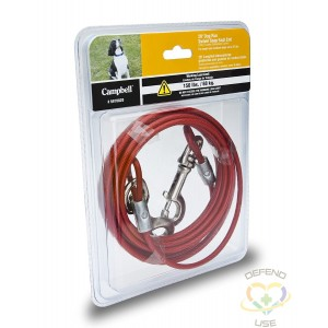 """CAMPBELL  Pet Tie-Out Cable Size: 1/8"""" Length: 20' Capacity: 150 lbs. (0.075 tons) Weight: 1.2 lbs. - 1"""