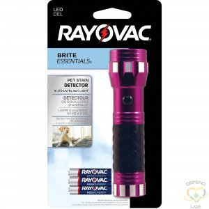 RAYOVAC Brite Essentials™ LED Pet Stain Detector Lamp Type: LED Body Colour: Purple Battery Type: AAA - 1