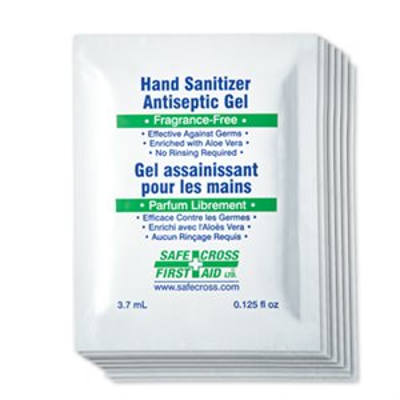 Safecross Hand Sanitizer Gel, 67.5% Alcohol, 3.7mL, Single Use Foil Sachets