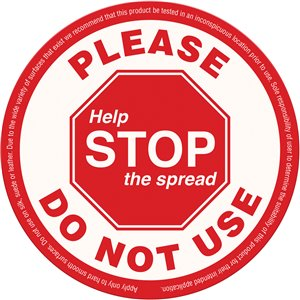 Do Not Use,Sign, Adhesive Label, Stop The Spread, 4 Mil, 25 Pack