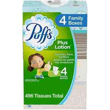 Puffs Plus Tissue (4x124 Family Std.) 6/496ct - 1