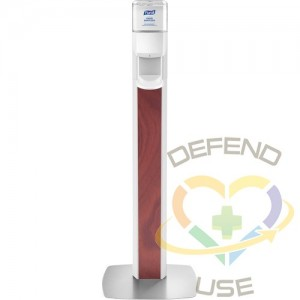 Purell® MESSENGER™ ES8 Maple Panel Floor Stand with Dispenser, White/Maple - 1
