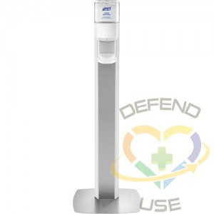 Purell® MESSENGER™ ES8 Silver Panel Floor Stand with Dispenser, White/Siver - 1