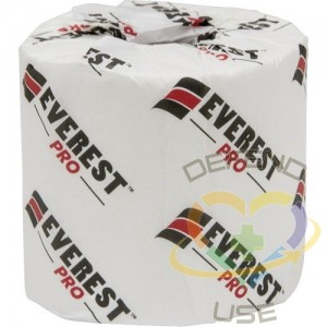 Everest Pro® Toilet Paper, 2 Ply, 500 Sheets/Roll, 125' Length, White, Case of 48 - 1