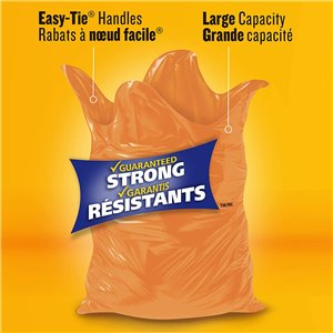 Glad Orange Garbage Bags - Extra Large 135 Litres - 20 Trash Bags, Case of 4x50ct
