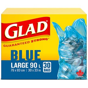 Glad Blue Recycling Bags - Large 90 Litres - Easy-Tie Handles, 30 Trash Bags, Case of 8x30ct