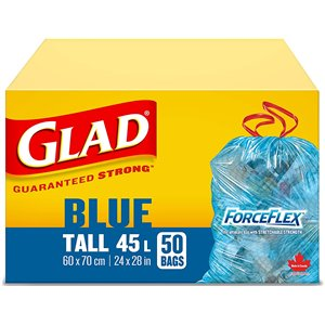Glad Blue Recycling Bags - Tall 45 Litres - ForceFlex, Drawstring, 50 Trash Bags, Case of 24 x 10ct