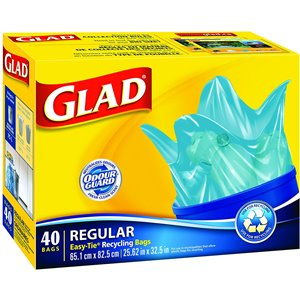 Glad Blue Recycling Bags - Regular 75 Litres - Easy-Tie Handles, 40 Trash Bags, Case of 6x40ct