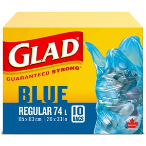 Glad Blue Recycling Bags - Regular 74 Litres - 10 Trash Bags, Case of 24x10ct