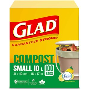 Glad 100% Compostable Bags - Small 10 Litres - Lemon Scent, 100 Trash Bags, Case of 12x20ct