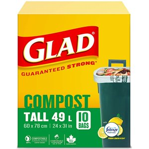 Glad 100% Compostable Bags - Tall 49 Litres - Lemon Scent, 10 Trash Bags, Case of 12x10ct