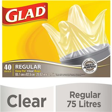 Glad Easy-Tie Bag Clear Reg, Case of 6x40ct