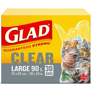 Glad Clear Garbage Bags - Large 90 Litres - 30 Trash Bags, Case of 8x30ct