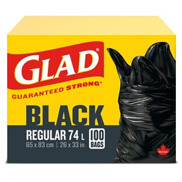 Glad Easy-Tie Garbage Bags Regular, Case of 4x100ct