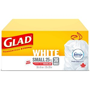 Glad White Garbage Bags - Tall 45 Litres - ForceFlex, Drawstring, with Febreze Fresh Clean Scent, Trash Bags, Case of 6x34ct