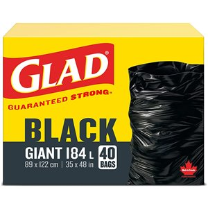 Glad Black Garbage Bags - Giant 178 Litres - 40 Trash Bags, Case of 4x40ct