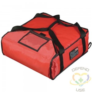 """Rubbermaid ProServe® Red Nylon Pizza Delivery Bag - 18""""L x 18""""W x 5 1/4""""H - 1"""