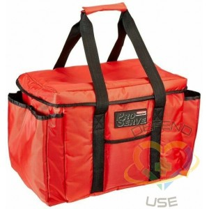 """Rubbermaid ProServe® Red Nylon Insulated Sandwich Delivery Bag - 15""""L x 12""""W x 12""""H - 1"""