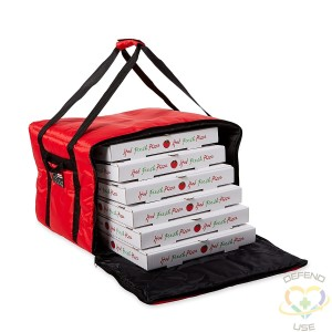 """Rubbermaid ProServe® Red Nylon Medium Food Delivery Bag - 19 3/4""""L x 19 3/4""""W x 13""""H"""