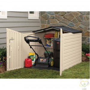 """RUBBERMAID HOME  Slide Lid Shed Height: 52-3/4"""" Width: 76-1/4"""" Depth: 56-3/4"""" Material: Plastic - 1"""
