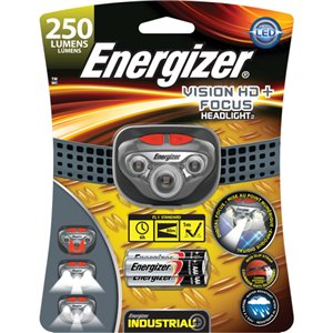 HD Vision Industrial Headlamp, LED, 250 Lumens, 6 Hrs. Run Time, AAA Batteries