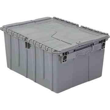"Flipak® Polyethylene Plastic (PE) Distribution Containers, 11.8"" x 9.8"" x 7.7"", Grey"