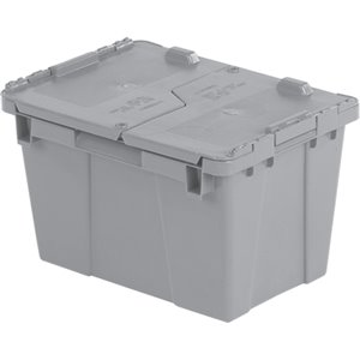 "Flipak® Polyethylene Plastic (PE) Distribution Containers, 15.2"" x 10.9"" x 9.7"", Grey"
