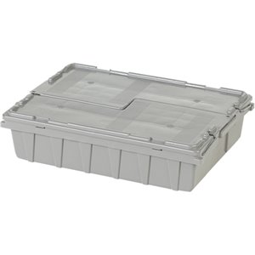 "Flipak® Polyethylene Plastic (PE) Distribution Containers, 21.8"" x 15.1"" x 5.5"", Grey"
