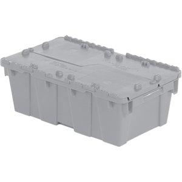 "Flipak® Polyethylene Plastic (PE) Distribution Containers, 19.7"" x 11.8"" x 7.3"", Grey"