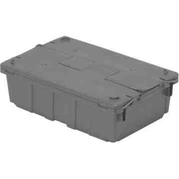 "Flipak® Polyethylene Plastic (PE) Distribution Containers, 20.6"" x 13.5"" x 6.5"", Grey"