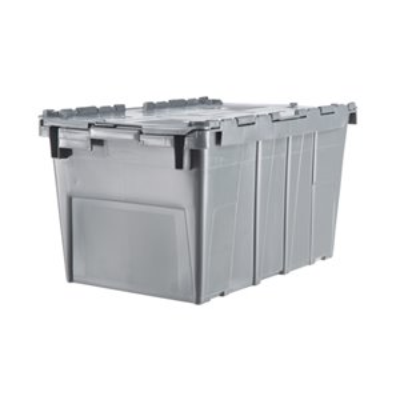 "Flipak® Polyethylene Plastic (PE) Distribution Containers, 20.6"" x 13.2"" x 11.6"", Grey"