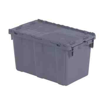 "Flipak® Polyethylene Plastic (PE) Distribution Containers, 22.3"" x 13"" x 12.8"", Grey"