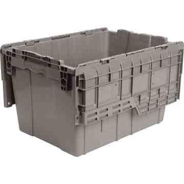 "Flipak® Polyethylene Plastic (PE) Distribution Containers, 21.8"" x 15.2"" x 12.9"", Grey"