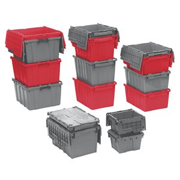 "Flipak® Polyethylene Plastic (PE) Distribution Containers, 23.9"" x 19.6"" x 12.6"", Red"