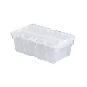 """Flipak® Polypropylene Plastic (PP) Distribution Containers, 19.7"""" x 11.8"""" x 7.3"""", Clear"""