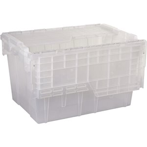 """Flipak® Polypropylene Plastic (PP) Distribution Containers, 21.8"""" x 15.2"""" x 12.9"""", Clear"""