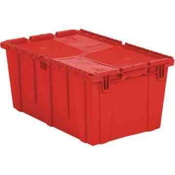 "Flipak® Polyethylene Plastic (PE) Distribution Containers, 26.9"" x 16.9"" x 12.1"", Red"