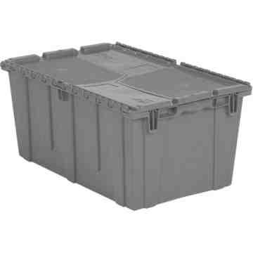 "Flipak® Polyethylene Plastic (PE) Distribution Containers, 26.9"" x 16.9"" x 12.1"", Grey"