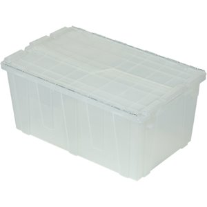 """Flipak® Polypropylene Plastic (PP) Distribution Containers, 26.9"""" x 16.9"""" x 12.1"""", Clear"""