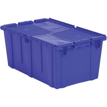 "Flipak® Polyethylene Plastic (PE) Distribution Containers, 26.9"" x 16.9"" x 12.1"", Blue"