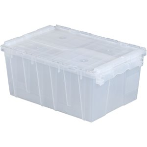 """Flipak® Polypropylene Plastic (PP) Distribution Containers, 21.8"""" x 15.2"""" x 9.3"""", Clear"""