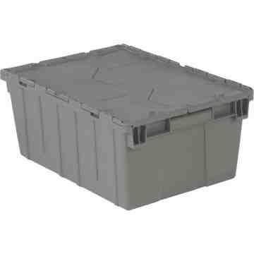 "Flipak® Polyethylene Plastic (PE) Distribution Containers, 21.9"" x 15.2"" x 9.3"", Grey"