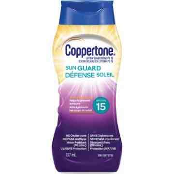 Water Resistant Sunscreen, SPF 15, 237 ml, Lotion Bottle
