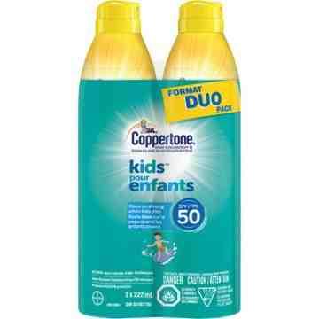 Kids™ Water Resistant Sunscreen, SPF 50, 222 ml, Aerosol Pack of 2