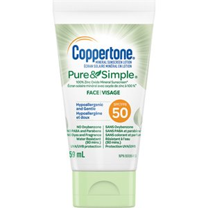Pure & Simple® Face Sunscreen, SPF 50, 59 ml, Lotion Bottle