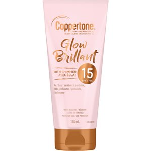 Glow Sunscreen with Shimmer, SPF 15, 148 ml, Lotion Bottle
