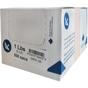 """SR Series Food Packaging Bulk Pound Bags, Open Top, 8"""" x 5"""", 0.85 mil Box of 500"""